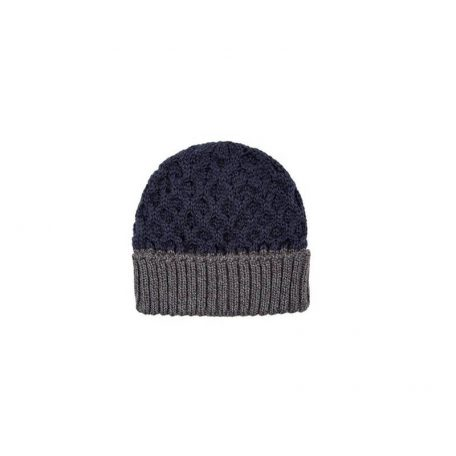 Dwukolorowa czapka naturalnej wełny